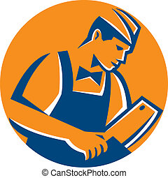Retro style illustration of a butcher cutter worker with meat cleaver knife facing side set inside circle on isolated background.