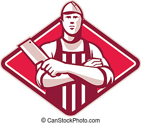 Retro style illustration of a butcher cutter worker with meat cleaver knife facing front set inside diamond on isolated background.