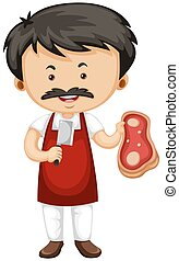 Butcher holding knife and meat