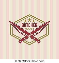 Butcher house vector vintage label or badge - Butcher house...