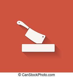 butcher knife in chopping board. red background. vector...