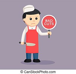 butcher man with bad cuts sign