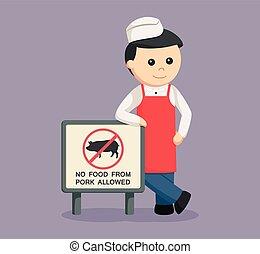 butcher man with forbidden pork meat sign