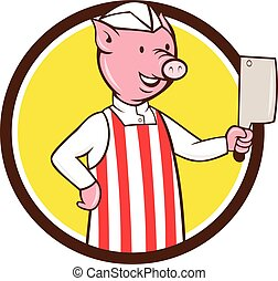 Butcher Pig Holding Meat Cleaver Circle Cartoon