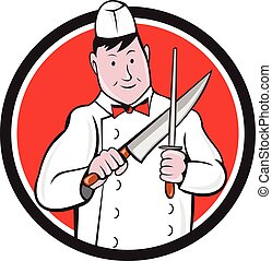 Illustration of a butcher cutter worker sharpening knife viewed from front set inside circle on isolated background done in cartoon style.