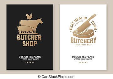 Butcher shop Badge or Label with cow, pig, chicken,beef. Vector. Vintage typography logo design with cow, pig, chicken,beef silhouette. For poster, flyer, template