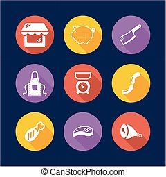 Butcher Shop Icons Flat Design Circle