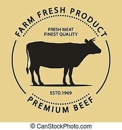 Butcher shop label. Badge with Cow. Fresh Beef vintage print. Butchery meats. Vector