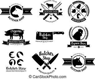 Butcher shop logo and label. Vector illustrations.