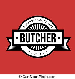 Butcher shop logo vintage vector