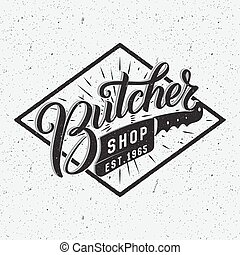 Butcher shop logotype. Retro typographic design. Brush Pen...