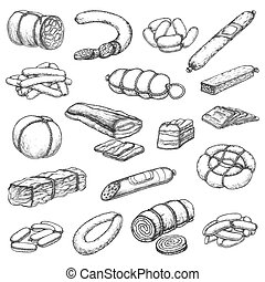 Butcher shop meat delicatessen, sausages sketch