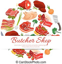 Butcher shop meat products poster for food design