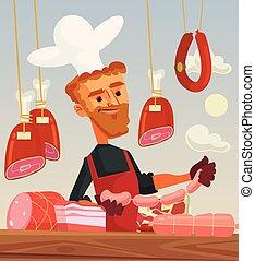 Butcher shop. Meat seller cook man character. Vector flat cartoon illustration