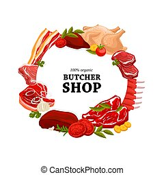 Butcher shop raw meat round vector banner - Butcher shop raw...