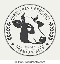 Butcher shop sign premium beef label