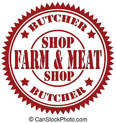 Butcher-stamp - Rubber stamp with text Farm & Meat,vector...