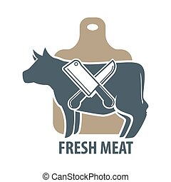 Butcher template logotype sign with cow and two crossed meat knives