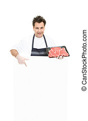 Butcher - This weeks specials - Butcher pointing to a blank...