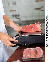 Butcher Weighing Meat On Weight Scale