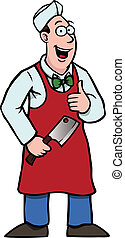 Butcher holding a cleaver and his thumbs up