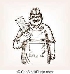 Butcher with knife sketch vector