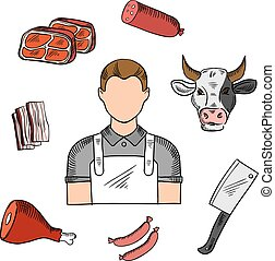 Butcher with meat and knife sketches