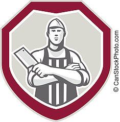 Butcher With Meat Cleaver Shield Retro