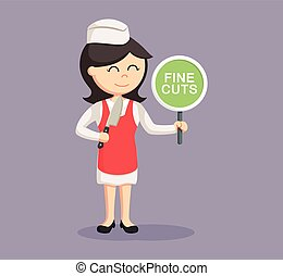 butcher woman with fine cuts sign