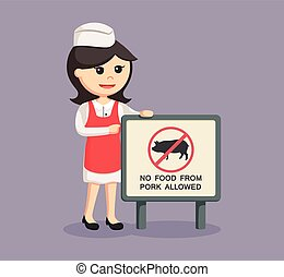 butcher woman with forbidden pork meat sign