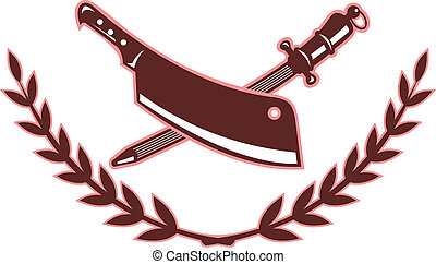 butcher\\\'s, 刃, sharpener, 隔離された, 白, ナイフ