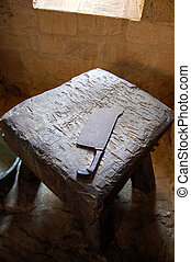 Butchers block - A butchers block and cleaver at Chateau de...