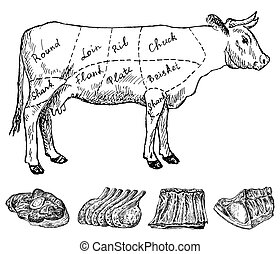 butchery. hand drawing set of vector sketches