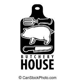 Butchery house logotype with pig outline and cutlery