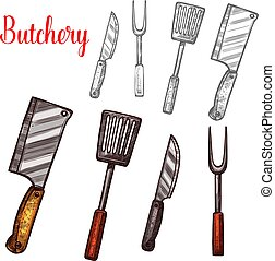 Butchery knives cutlery sketch vector icons - Butcher...
