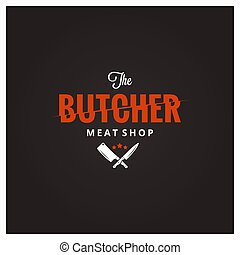 Butchery logo. Butcher meat shop with knife and cleaver 10...