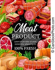 Butchery meat and sausage. Vector beef or pork