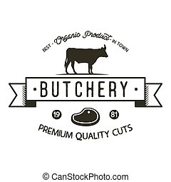 Butchery shop logo template. Old style badge design with silhouette cow symbol and typography elements. Stock vector isolated on white background