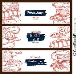Butchery shop meat sausages banners sketch set