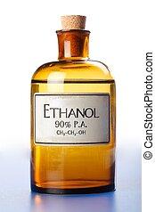 butelka, alkohol etylu, czysty, etanol