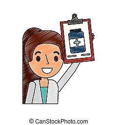 butelka, apteka, clipboard, samiczy doktor