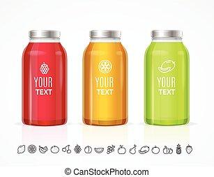 butelka, barwny, set., słój, sok, wektor, szablon