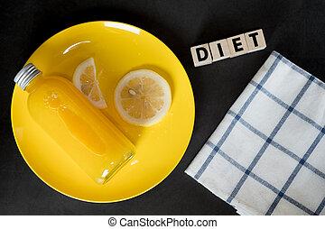 butelka, pomarańcza, płyta., żółty, kromka, cytrynowy sok, świeży