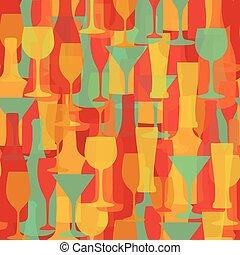 butelki, alkohol, piwo, pattern., okulary, seamless, szampan...