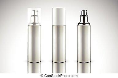 butelki, kosmetyczny, czysty