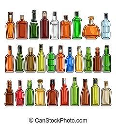 butelki, różny, wektor, komplet