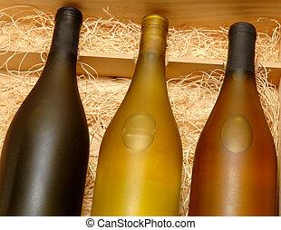 butelki, trzy, wino