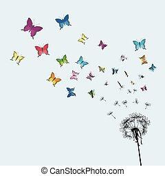 buterflies, 種, trasforming, カラフルである, タンポポ