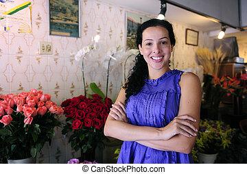 butik, ägare, blomma, lycklig