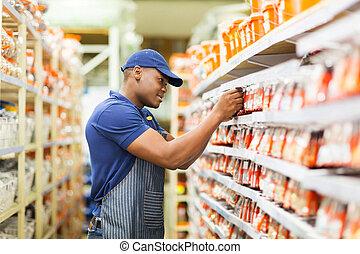 butik, arbete, arbetare, järnvaror, afrikansk, lager